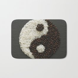 Yin and Yang made with rice and black pepper Bath Mat