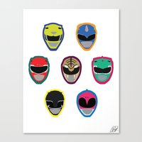 power rangers Canvas Prints featuring Rangers by Ocelotdude Designs