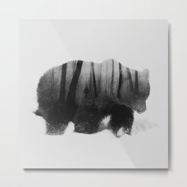Watched By Grizzly b&w Metal Print