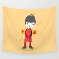 ninja Wall Tapestries featuring Little Ninja by Volkan Dalyan