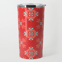 Red Background with Coral and Aqua Flower Pattern Travel Mug