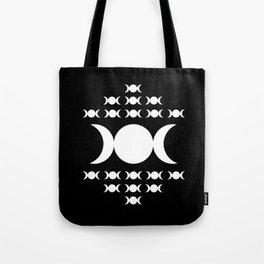 Triple Moon Goddess - White on Black Tote Bag