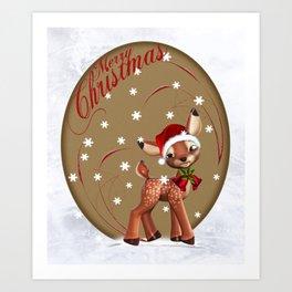 Mery Christmas in red Art Print
