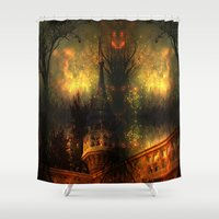 pumpkin Shower Curtains featuring Pumpkin Castle by BeachStudio