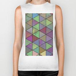 Pastel Triangulation - Abstract, textured, geometric painting Biker Tank