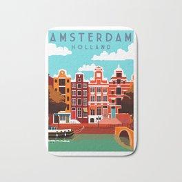 Vintage Amsterdam Holland Travel Bath Mat