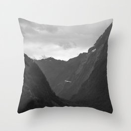 Flight entering Milford Sound New Zealand South Island Throw Pillow