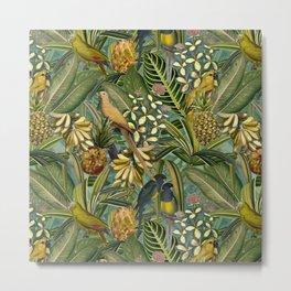 Vintage & Shabby Chic - Green Tropical Bird Flower Garden Metal Print
