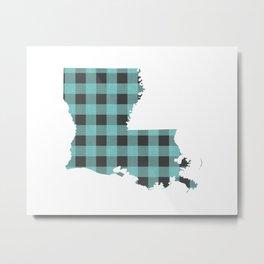Louisiana Plaid in Mint Metal Print