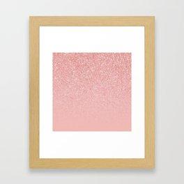 Rose Gold Glitter Cascade Framed Art Print