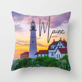 Maine Lighthouse New England Cape Elizabeth Sunrise Ocean Landscape Throw Pillow