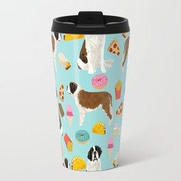 St. Bernard junk food fast food french fries dog breed pattern cute pet gifts Travel Mug