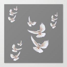 WHITE PEACE DOVES ON GREY COLOR DESIGN ART Canvas Print