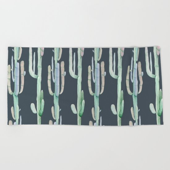 Cactus Stack on Navy Beach Towel