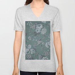 Vintage green white shabby floral roses Unisex V-Neck