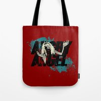 orphan black Tote Bags featuring Orphan Black - Angry Angel by Child of the Tardis