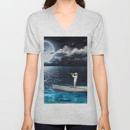 Row Boat by Moonlight, Fantasy, Nautical, Coastal  Unisex V-Neck