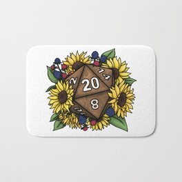 Sunflower D20 Tabletop RPG Gaming Dice Bath Mat