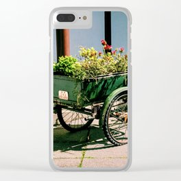 Photograph of a Tricycle with a Large Basket of Flowers in the Back, Vancouver Botanical Garden Clear iPhone Case