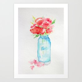 Ball Jar - Watercolor  Art Print