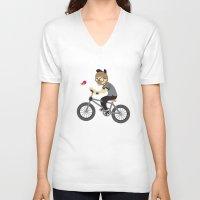 cycling V-neck T-shirts featuring Mr.Bongo Cycling by Gunawan Lo