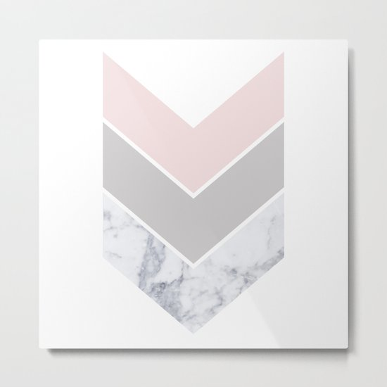 Scandinavian Marble Blush Gray Metal Print