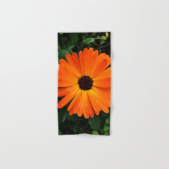 SMILE - DAISY FLOWER #3 #Orange #Raindrops Hand & Bath Towel