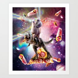 Laser Eyes Space Cat On Llama Dinosaur - Rainbow Art Print