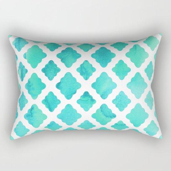 Watercolor Mint Diamonds Rectangular Pillow