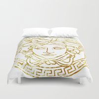 versace Duvet Covers featuring Versace White by InteriorEpiphanies