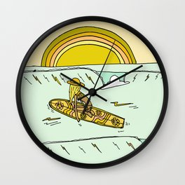 paddle on to new adventures retro surf art by surfy birdy Wall Clock