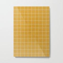 Small Grid Pattern - Mustard Yellow Metal Print