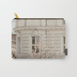 WHITE AND BROWN TREE IN FRONT OF WHITE CONCRETE BUILDING Carry-All Pouch