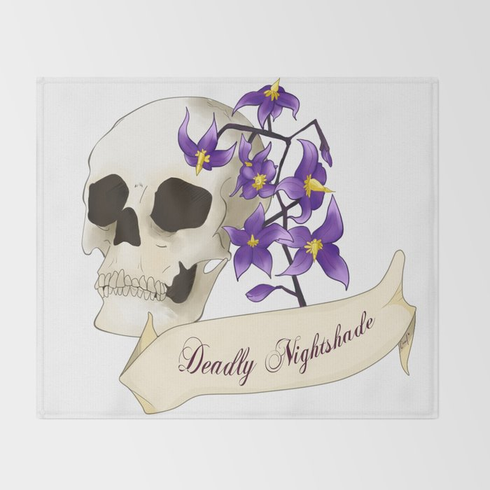 Deadly, Sweet and Toxic - Deadly Nightshade Throw Blanket