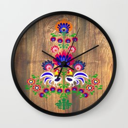 Folk cockrells and flowers Wall Clock