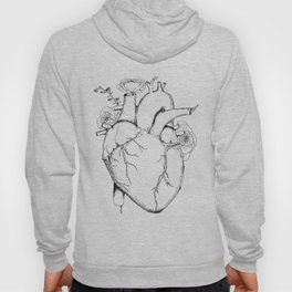 Black and White Anatomical Heart Hoody