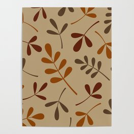 Fall Color Assorted Leaf Silhouettes Poster
