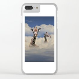 Heads above the Clouds with 3 Giraffes Clear iPhone Case