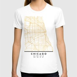 CHICAGO ILLINOIS CITY STREET MAP ART T-shirt