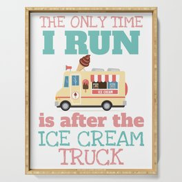 Funny Summer Shirt Run for the Ice-cream Truck Serving Tray