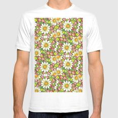 Christmas Daisy and Berries Pattern Mens Fitted Tee White MEDIUM