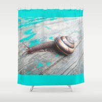 snail Shower Curtains featuring Snail by Nita Bond