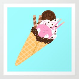 Sundae Cat Art Print