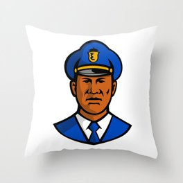 African American Policeman Mascot Throw Pillow