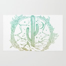 Desert Cactus Dreamcatcher Turquoise Coral Gradient on White Rug