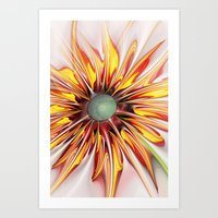 sunflower Art Prints featuring Sunflower by Klara Acel