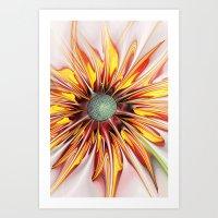 sunflower Art Prints featuring Sunflower by Klara Acel