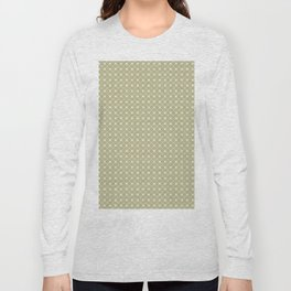 Cream on Earthy Green Parable to 2020 Color of the Year Back to Nature Polka Dot Grid Pattern Long Sleeve T-shirt