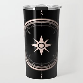 Rosegold Compass on Black II Travel Mug
