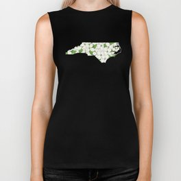 North Carolina in Flowers Biker Tank